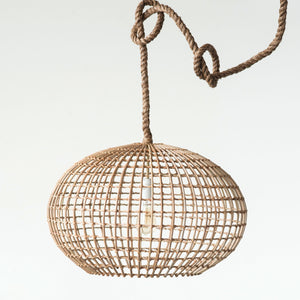 Round Wicker Pendant Light with Rope Cord