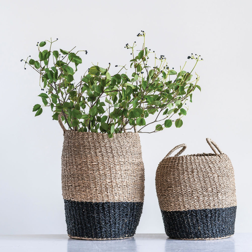 Woven Seagrass Baskets with Handles (Set of 2)