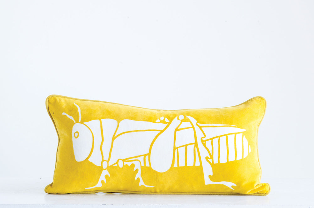 Velvet Grasshopper Pillow