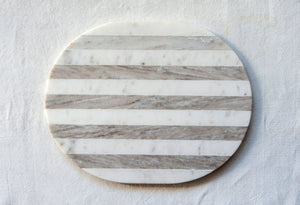Oval Grey & White Striped Marble Cheese/Cutting Board