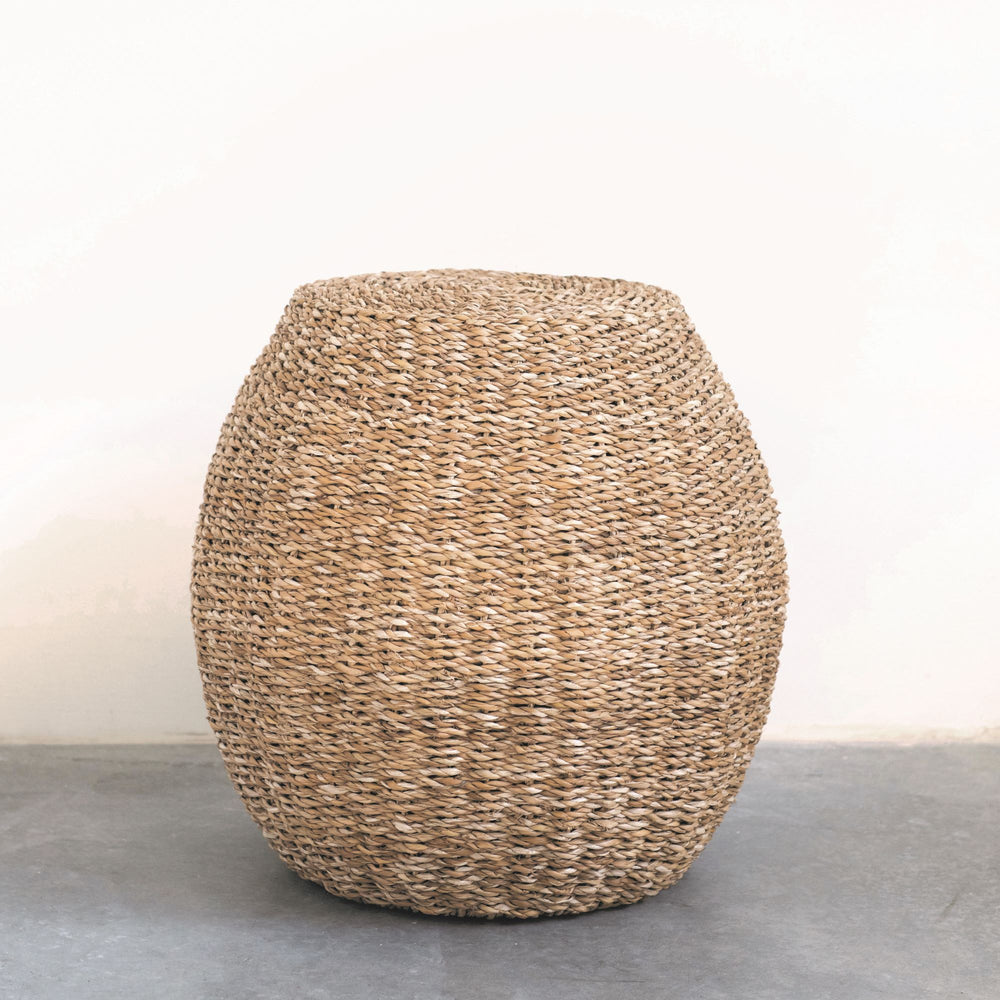 Handwoven Seagrass Stool with Metal Frame