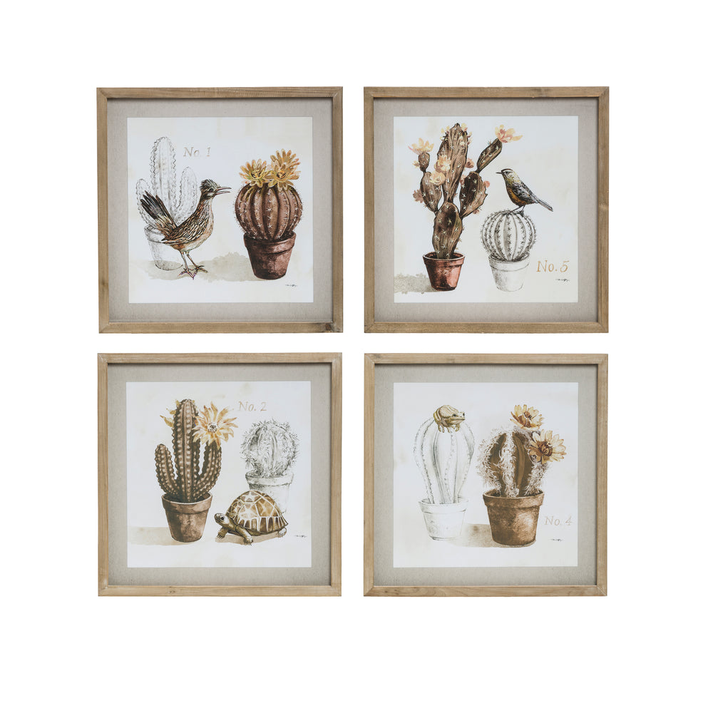 Cactus & Animal Wall Art (Set of 4)