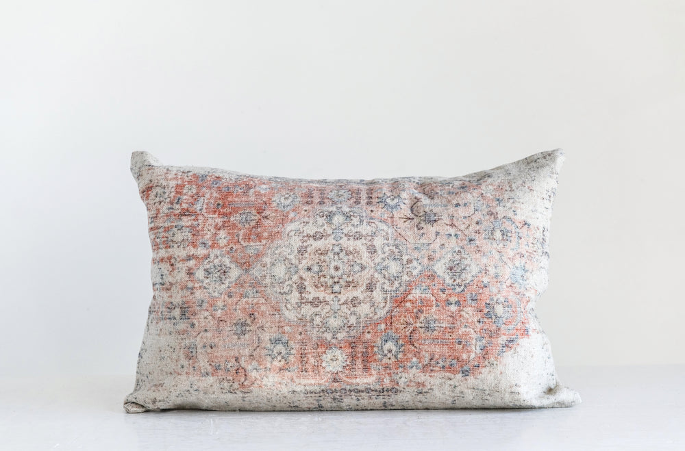 Distressed Vintage Cotton Lumbar Pillow