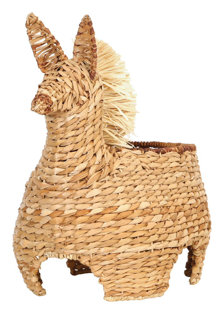 "20""H Handwoven  Llama-Shaped Basket"