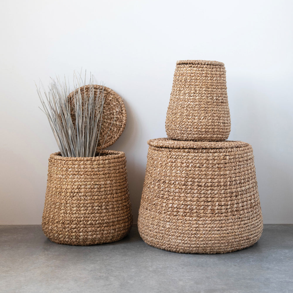 Set of Three Rattan Baskets with Lids