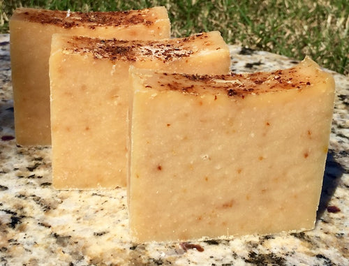Cinnamon and Clove Oil with Flax and Apple Seed Meal Goats Milk Soap 5oz