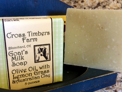 Olive Oil with Lemon Grass Essential Oil and Australian Clay Goats Milk Soap 5oz