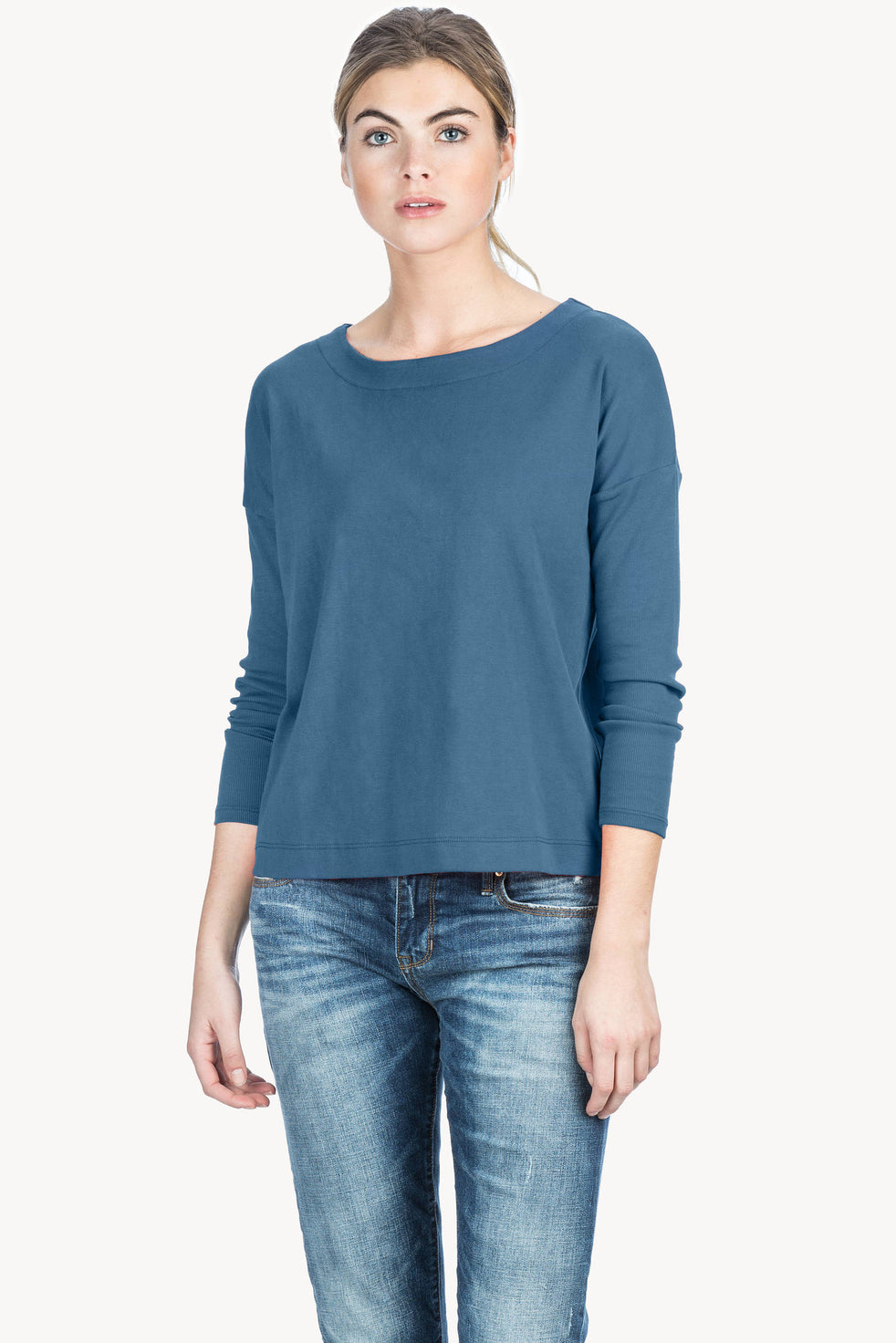 b3545faaa90 Ribbed Sleeve Boatneck Womens Top Nile A1 ...