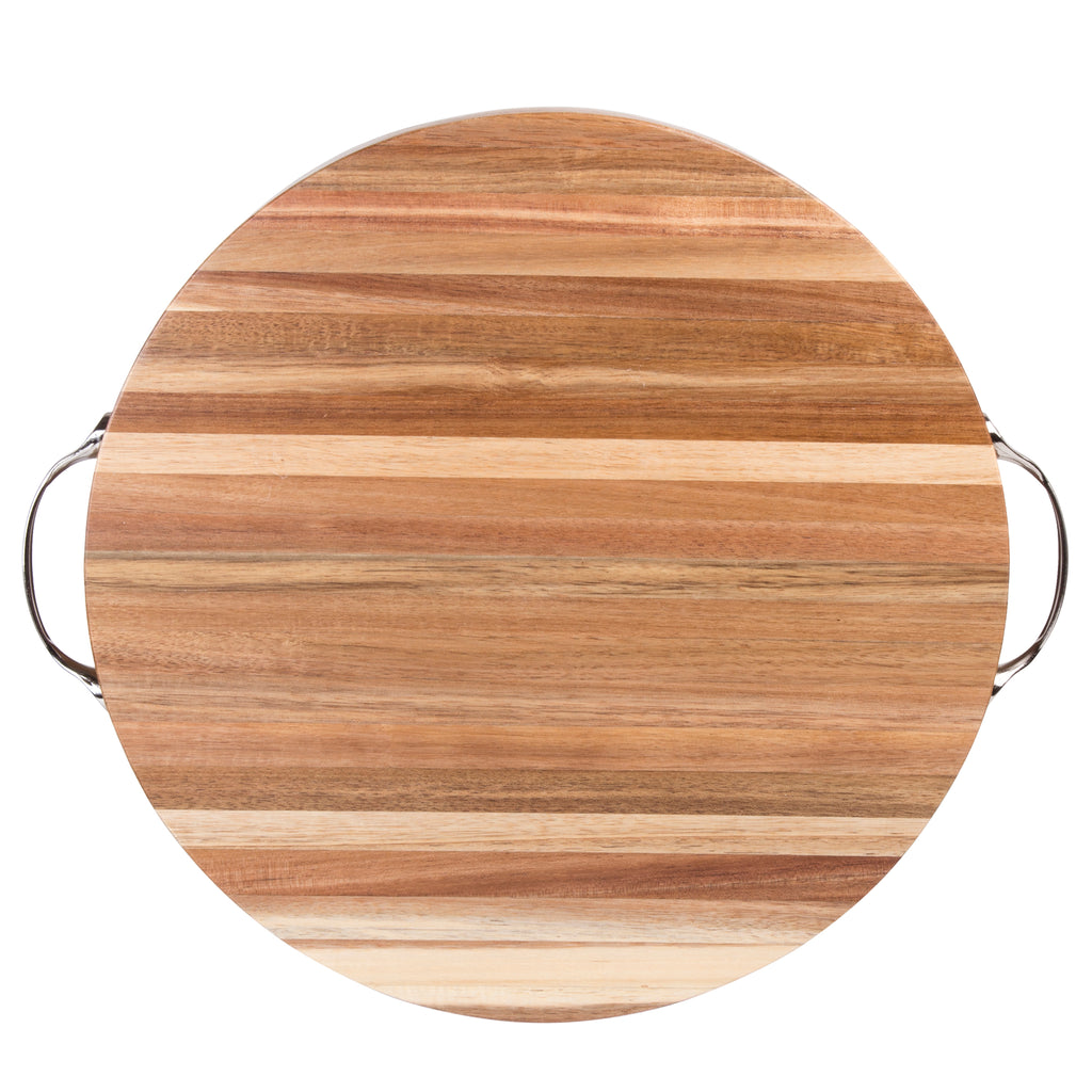 "Creative Home Acacia Wood 14.8"" Diam. Round Cutting Board, Chopping Block with Chrome Plated Metal Handles"