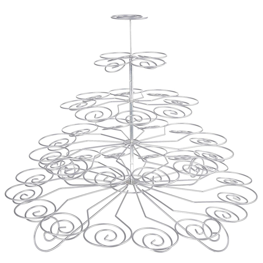 5-Tier Chrome Plated Finish Cupcake Stand, Silver