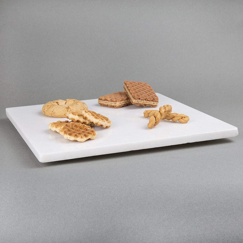 "Genuine Natural Marble Stone 12"" Square Cheese Board, Pastry Board, Cutting Board - Off-White"