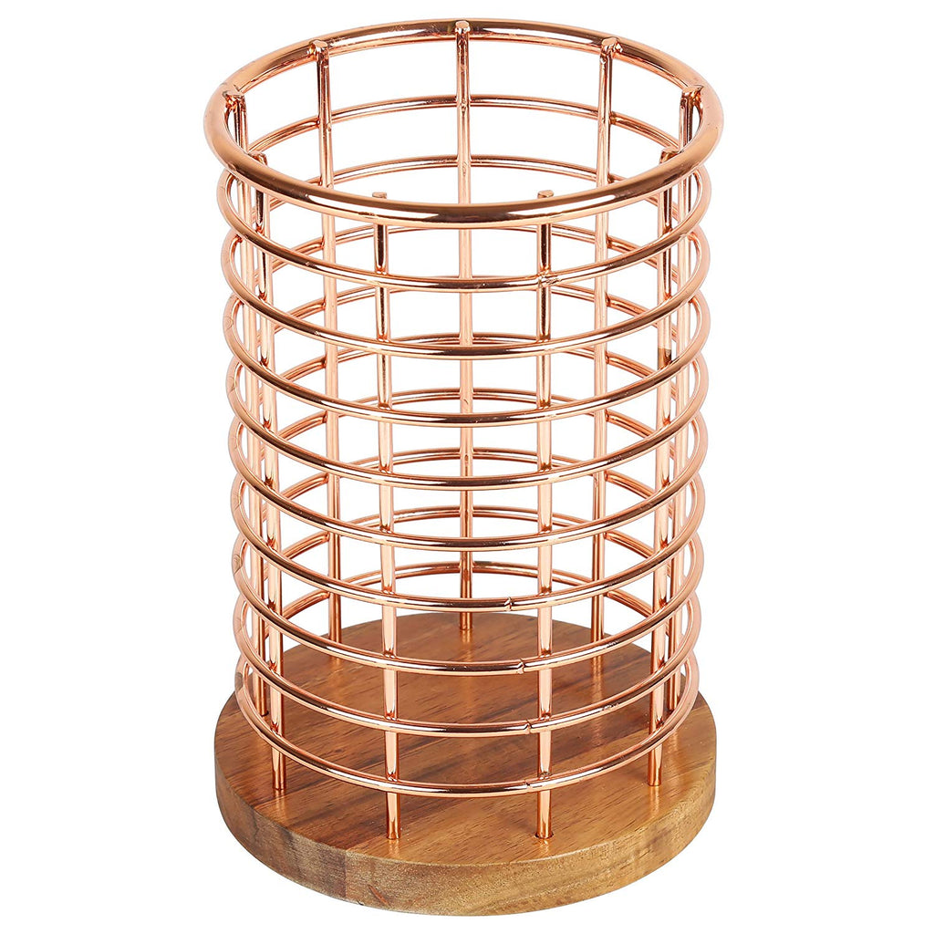 Deluxe Acacia Wood and Wire Utensil Tool Holder with Copper Finish, NA