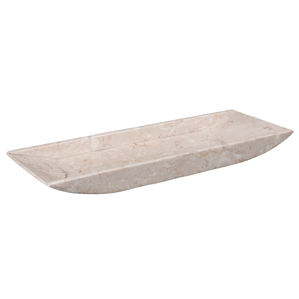 Creative Home Natural Champagne Marble Boat Shaped Vanity Organize Tray, Beige