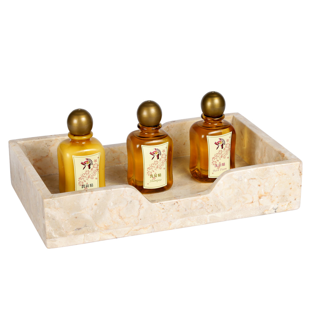 Creative Home Natural Champagne Marble Rectangular Guest Towel Organizer Tray,