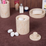Creative Home Champagne Marble Cotton Ball Holder