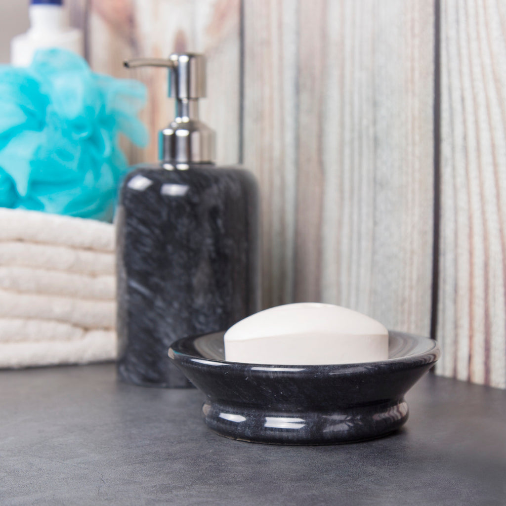 Creative Home Internal Spa Collection Black Marble Liquid Soap Dispenser