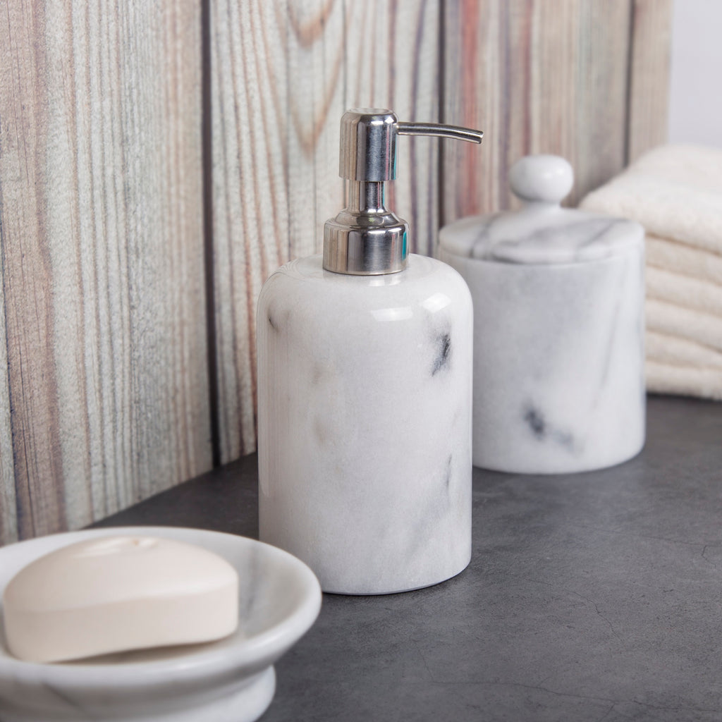 Creative Home Natural Marble SPA Collection Lotion Liquid Soap Dispenser, Off-White