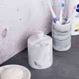 Creative Home Natural Marble Stone Cotton Ball Swab Holder, Off-White