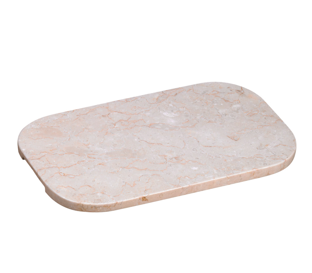 Creative Home Champagne Marble Oval Serving Board with Underneath Cutout Handles,