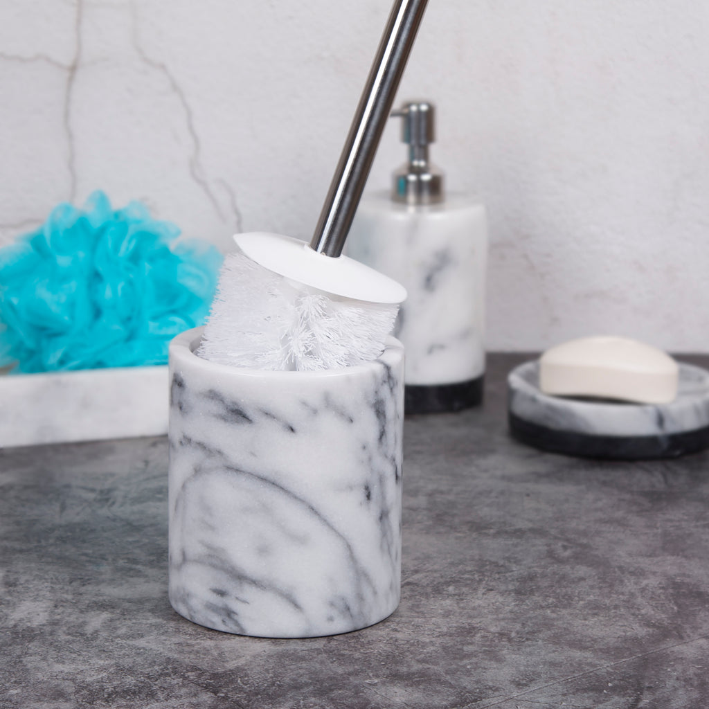 Creative Home Natural Marble Toilet Brush Holder Set with Silicone Cover, Off-White