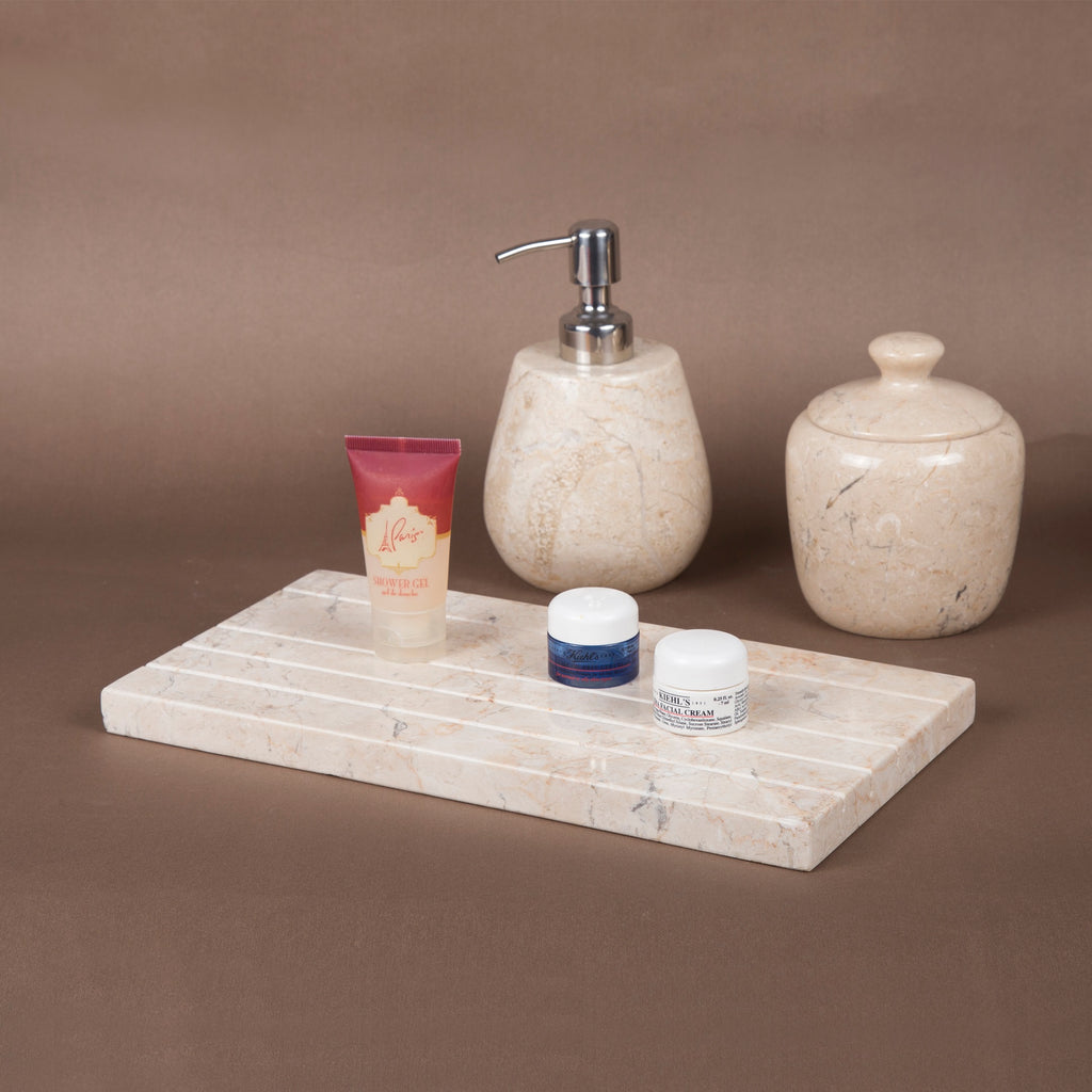 Creative Home Boulder Collection Marble Bath Accessory Tray, Champagne