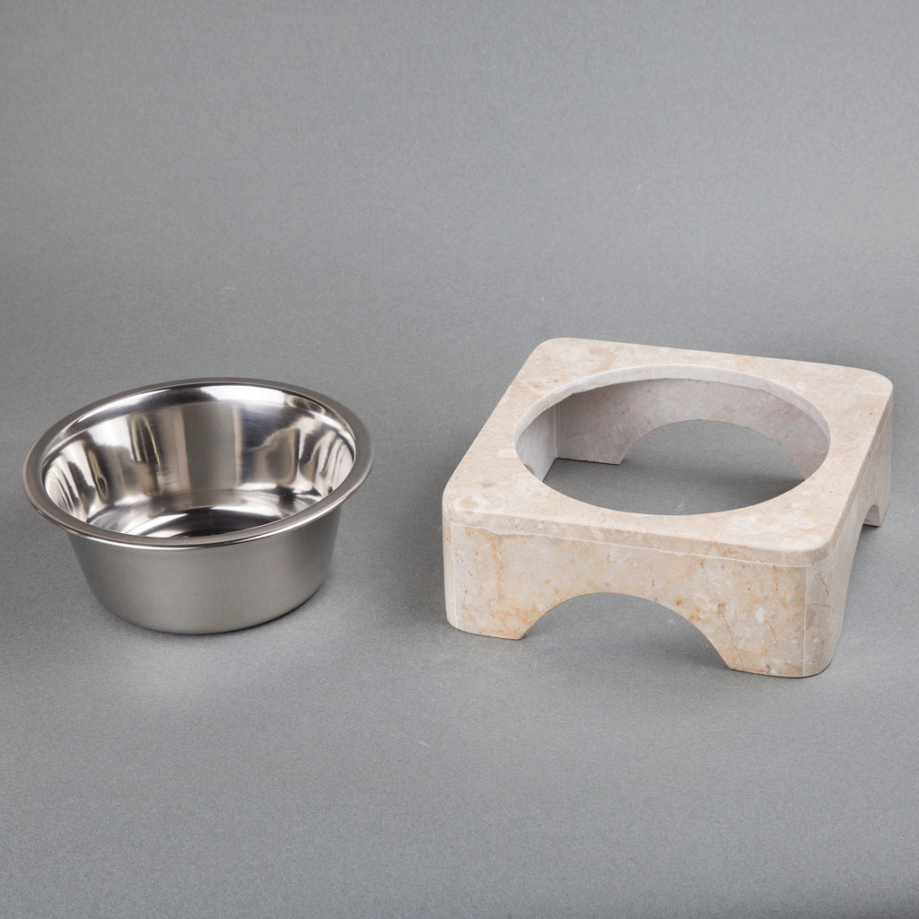 Creative Home 1.0 Qt. Natural Champagne Marble Pet Food Water Set with Stainless Steel Bowl,