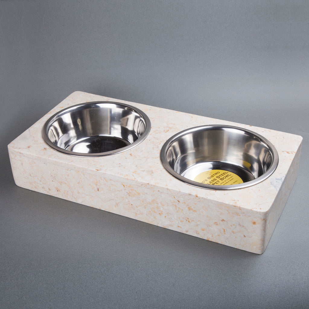 Creative Home Champagne Marble 2 Quart Double Diner Pet Food & Water Feeder Bowl, Dish Set,