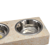 Creative Home 1.0 Pint Champagne Marble Double Diner Pet Food and Water Feeding Bowl Set
