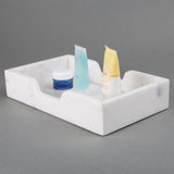 Creative Home White Marble Rectangular Organize Bath Towel Tray,