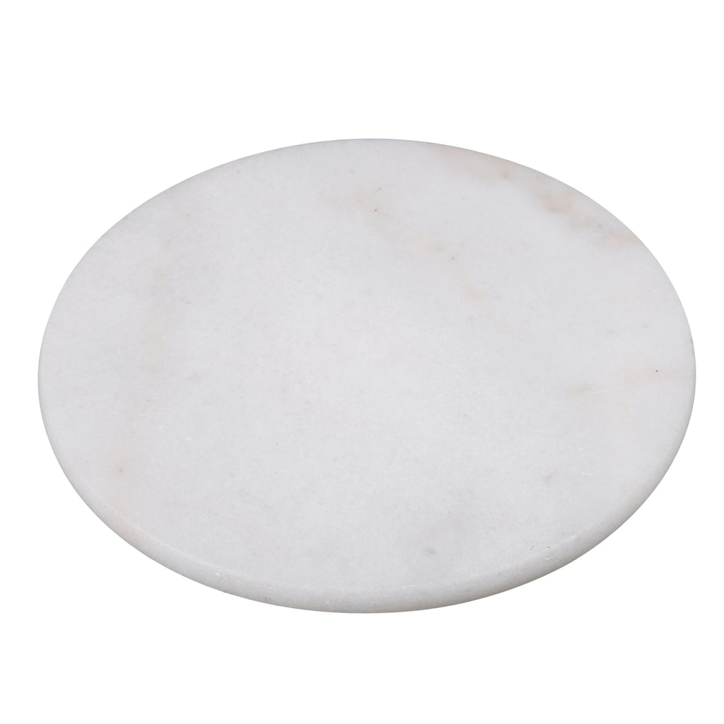 "Creative Home Creamy White Marble 8"" Round Trivet"
