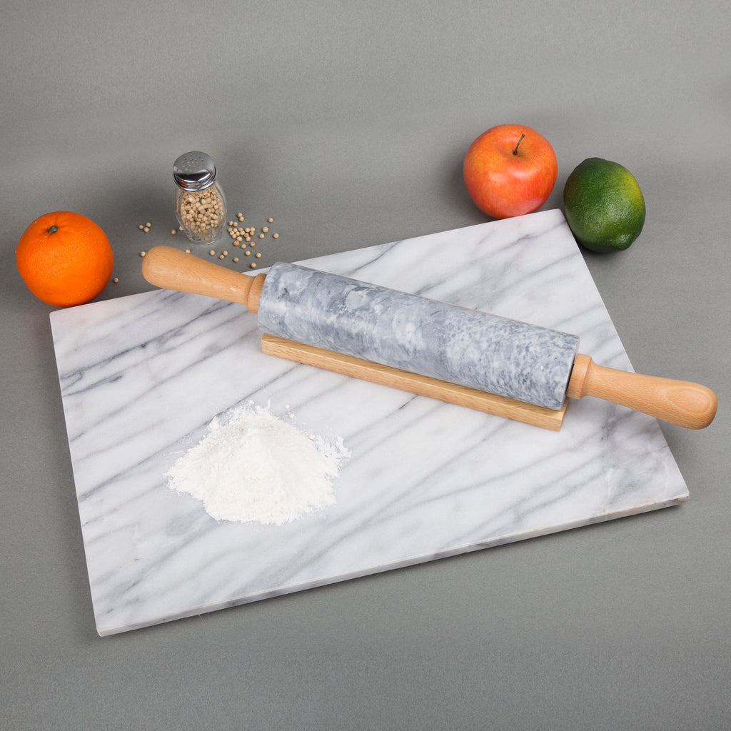 "Creative Home 18"" L Gray Marble Stone Rolling Pin with Wooden Handles and Cradle"