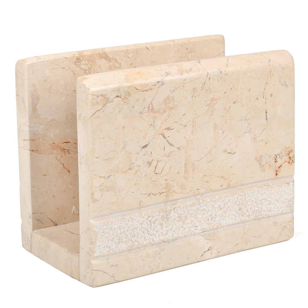 Creative Home Natural Champagne Marble Napkin Holder, Dispenser, Hand Carved Style