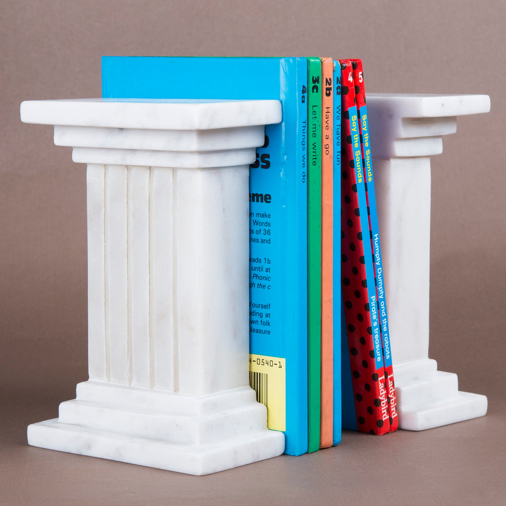 Creative Home Natural Marble Set of 2 Pieces Bookends, Column Style,
