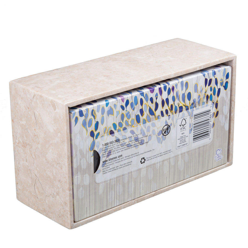 Creative Home Champagne Marble Stone Rectangular Tissue Box Holder Cover,