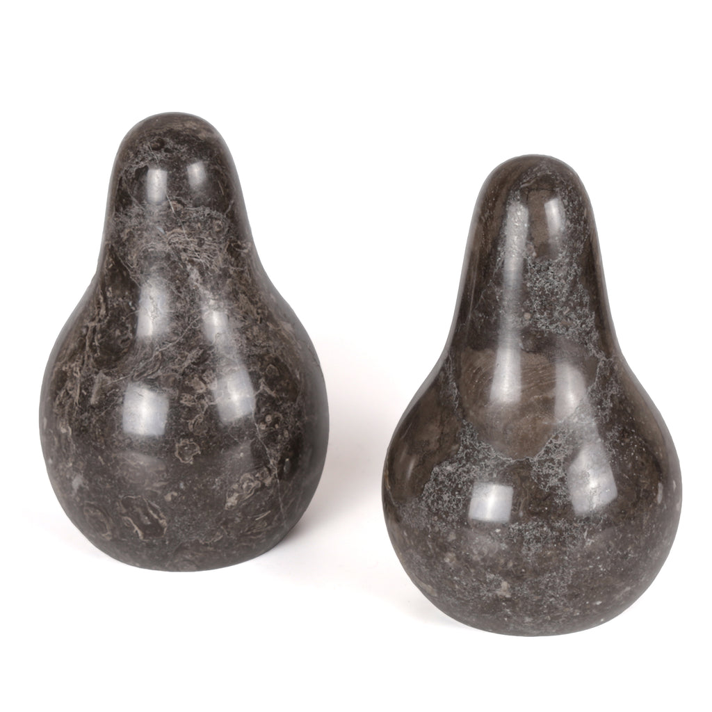 Creative Home Charcoal Pear Shape Marble Bookends (Set of 2)