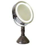 "Creative Home Deluxe 7"" Double Sided Swivel Vanity Led Mirror with 1x, 7x Magnification & Charcoal Marble Stone Pillar Stand"