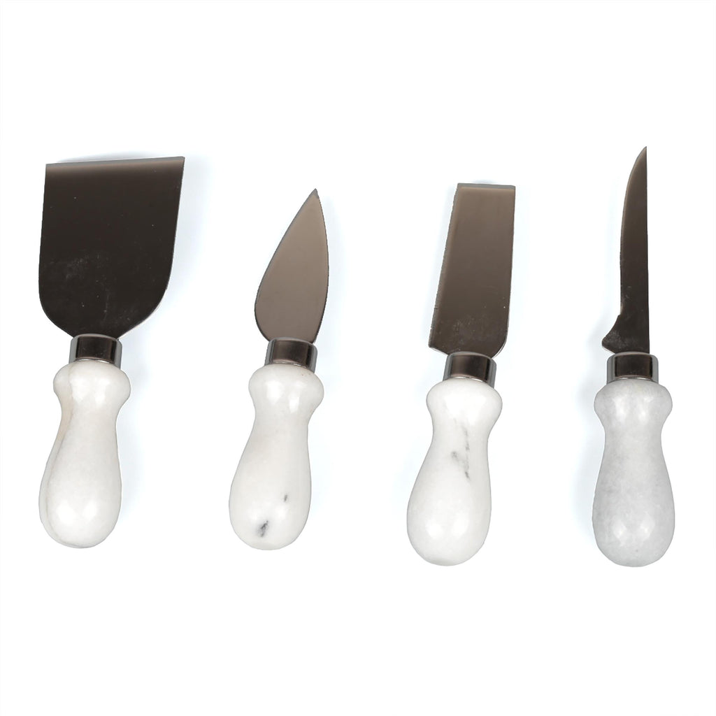 Creative Home Natural Marble Stone Set of 4 Pieces Knife Cheese Cutter, Spreader,