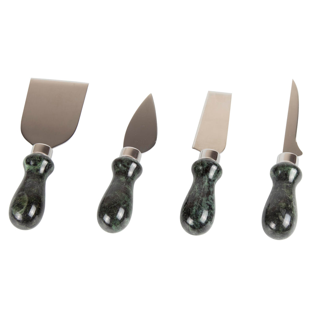 Creative Home Genuine Green Marble Stone 4 Pcs Cheese Knife Set