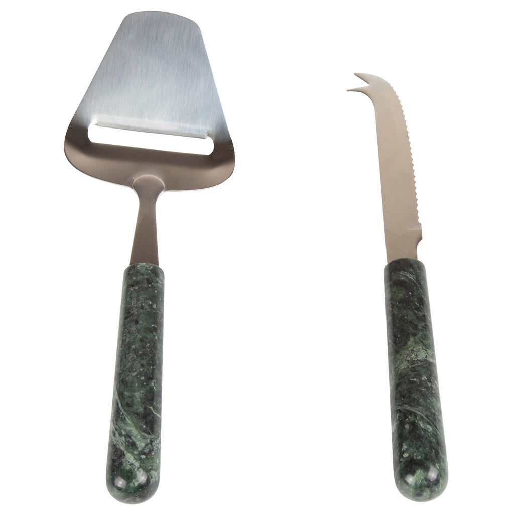 Creative Home Genuine Green Marble Stone 2 Piece Serving Set,