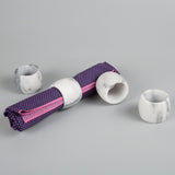 Creative Home White Marble Stone Set of 4 Pc Napkin Ring Set