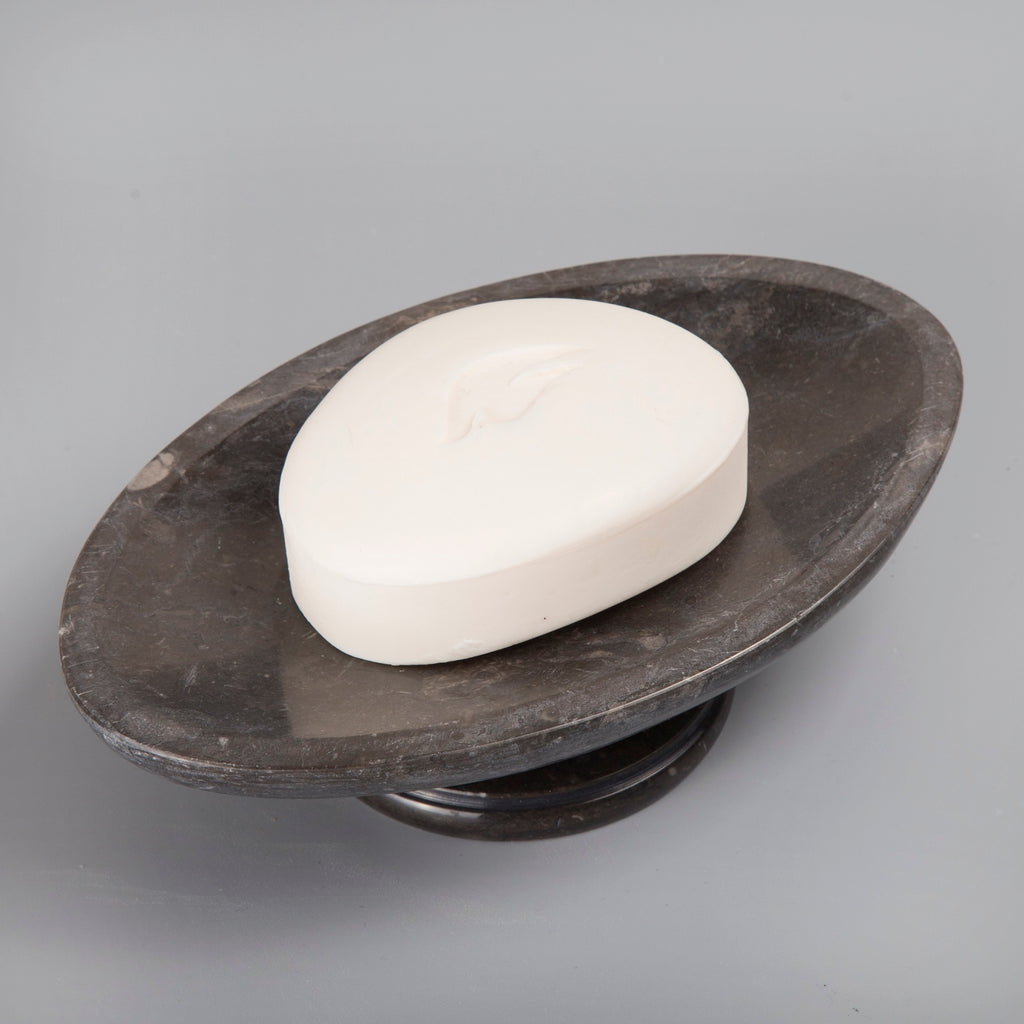 Creative Home Natural Charcoal Marble Bar Tray on Pedestal Soap Dish Holder.