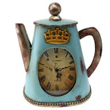 Creative Home Distressed Tea Kettle Shape Metal Analog Clock, Aqua Blue