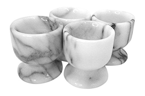 Genuine Natural White Marble Set of 4 pc Egg Cup Holder