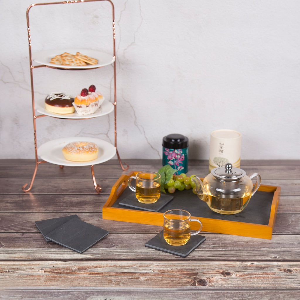 Creative Home Natural Slate with Genuine Solid Wood Trim Serving Set