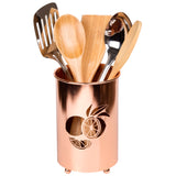 Creative Home Deluxe Cooking Utensil Holder Flatware Tool Crock Kitchen Countertop Organizer, Copper Finish