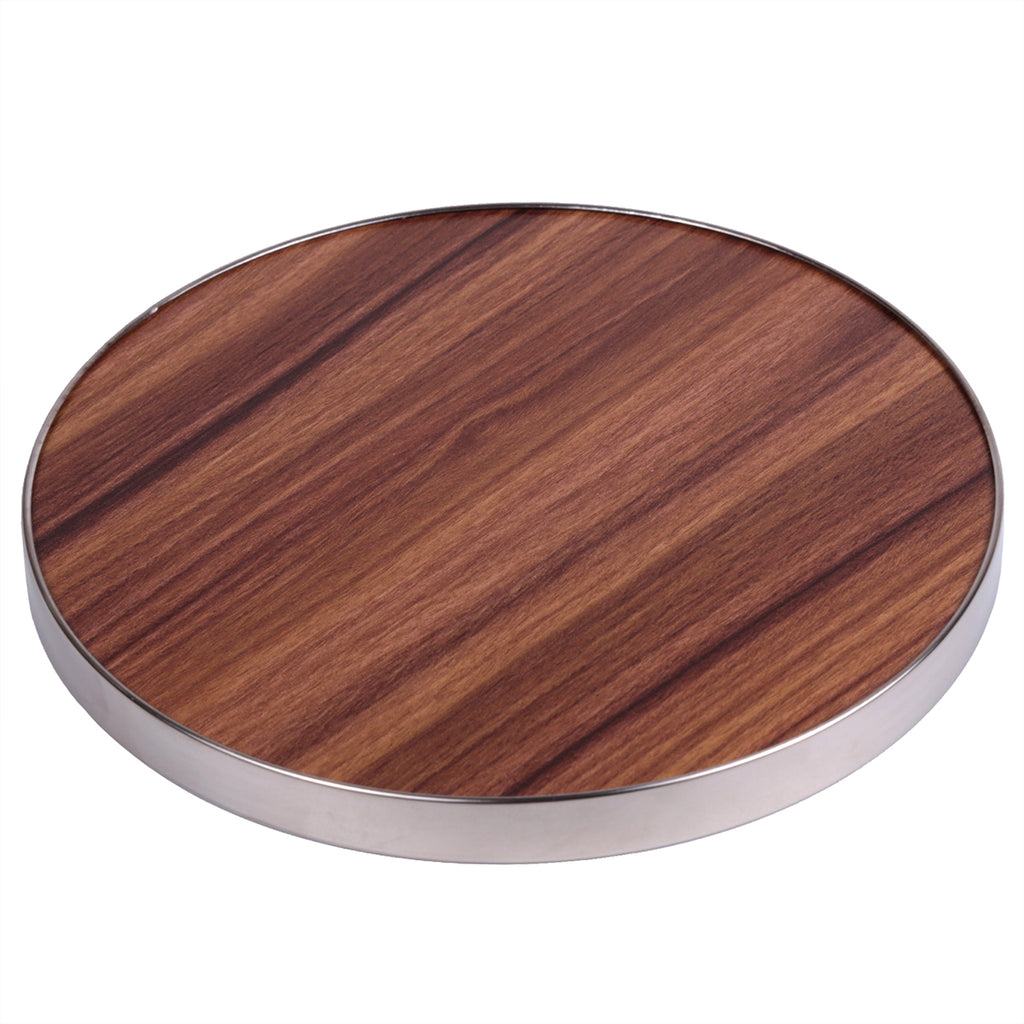 "Creative Home Fiber 7"" Round Trivet, Serving Board Acacia Wood Finish and Stainless Steel Trim"