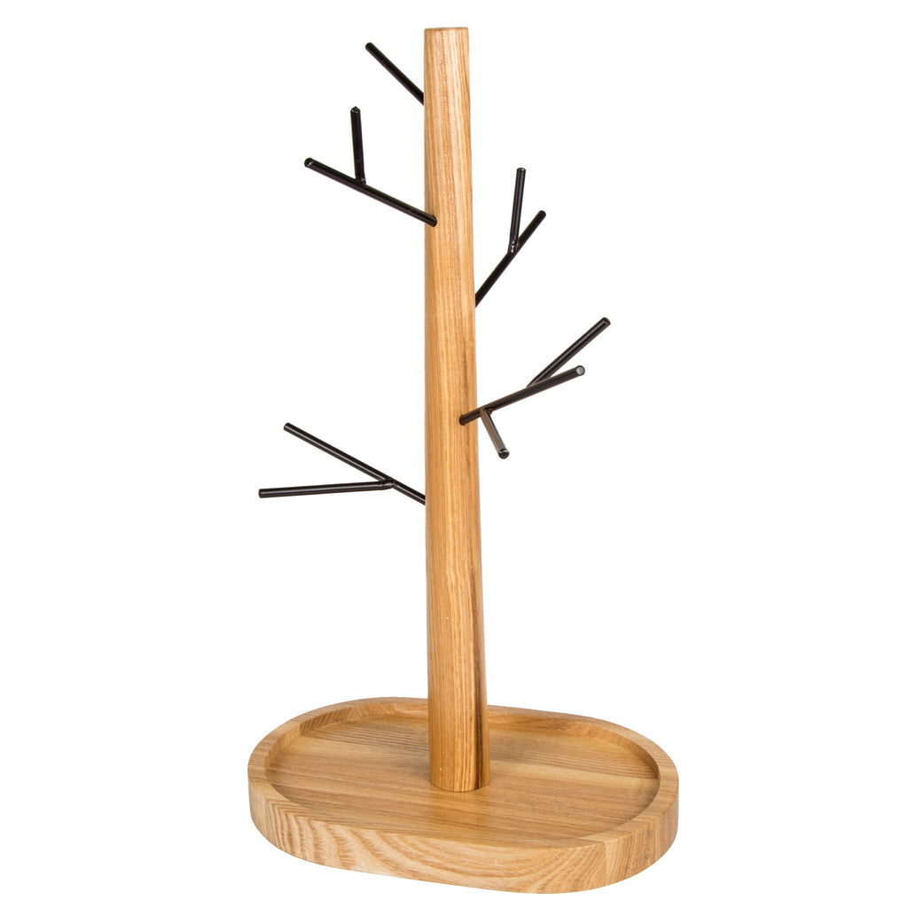 Creative Home Black Wire Jewelry Tree Stand, Hanger, Organizer & Acacia Wood Tray