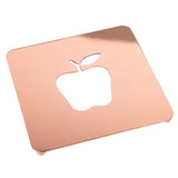 "Creative Home 7.5"" Copper Plated Metal Square Trivet with Apple Motif,"