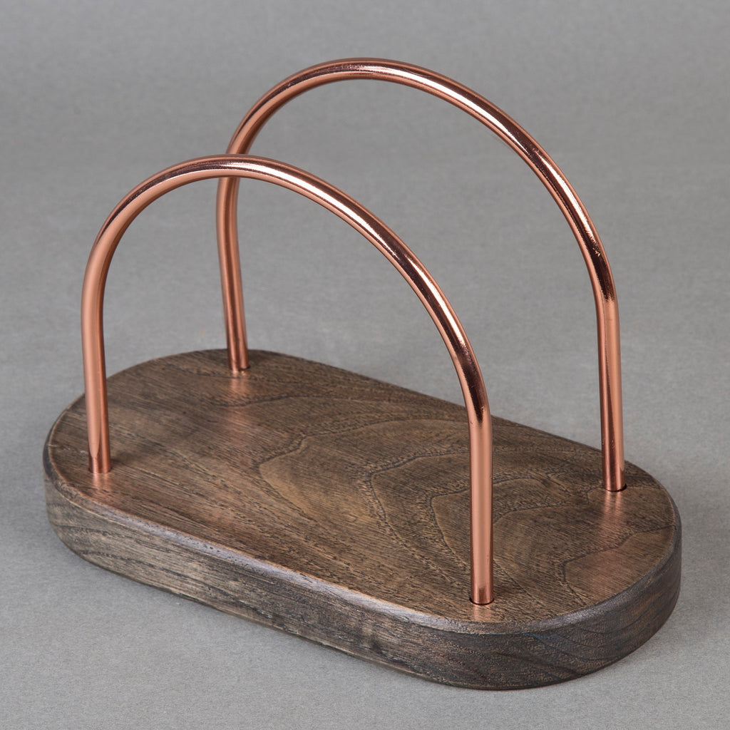 Creative Home Chestnut Wood With Copper Plated Wire Napkin Holder