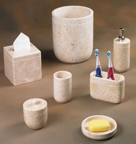 Creative Home Champagne Marble Stone Toothbrush, Paste Holder